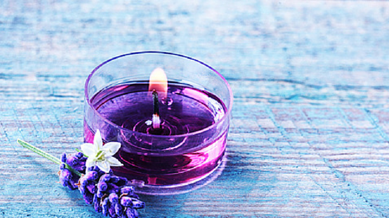 Lavender Flower & Purple Candle