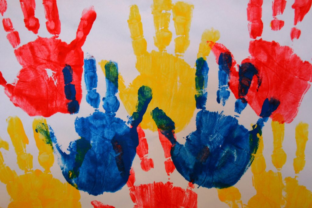 colourful hands childrens artwork